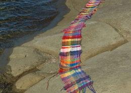 Salt Spring photos of beautiful SAORI weaving.